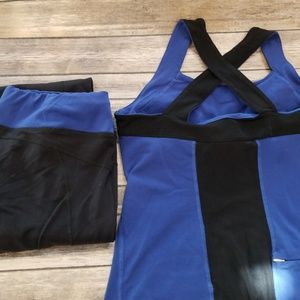 Lucy Fitness LOT Bundle M black pants top outfit